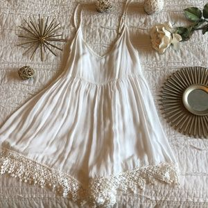 White lace detail romper